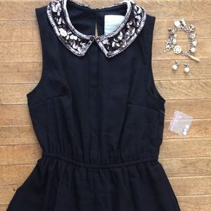 Modcloth Black Chiffon Mini Dress, Sequin Collar S